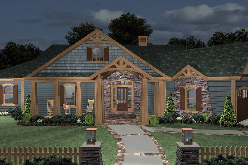 Cottage Exterior - Front Elevation Plan #56-716