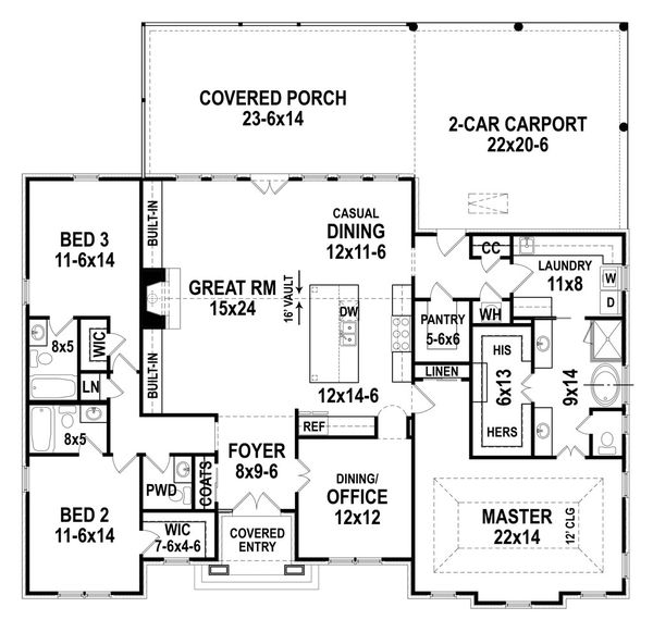 House Plan Design - Ranch Floor Plan - Main Floor Plan #119-435