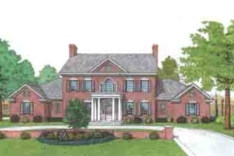 Colonial Style House Plan - 4 Beds 3.5 Baths 3335 Sq/Ft Plan #310-108 Exterior - Front Elevation