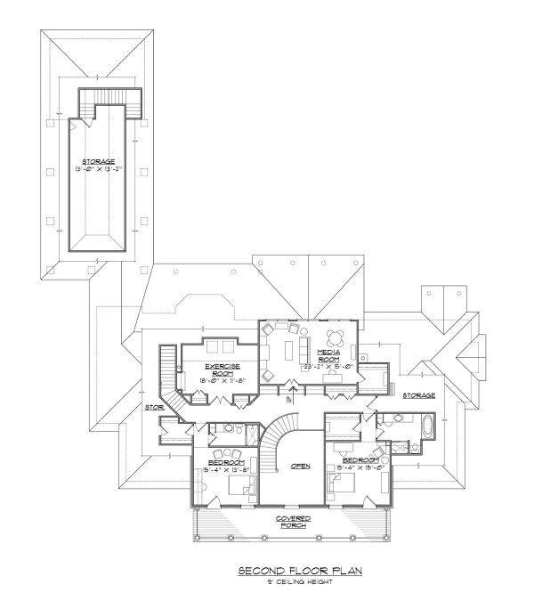 Colonial Floor Plan - Upper Floor Plan #1054-70