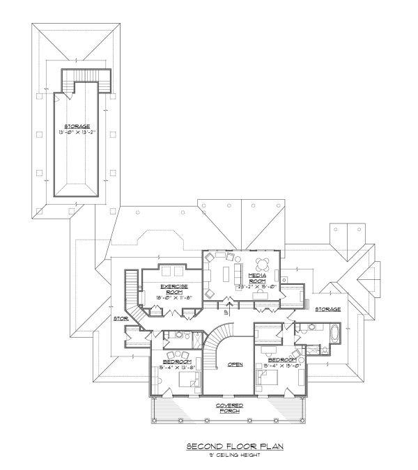 Colonial Floor Plan - Upper Floor Plan #1054-70