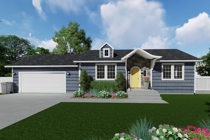 Ranch Style House Plan - 2 Beds 1 Baths 931 Sq/Ft Plan #1060-38 Exterior - Front Elevation