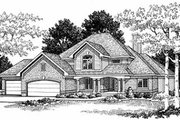 Traditional Style House Plan - 3 Beds 2.5 Baths 2408 Sq/Ft Plan #70-383 Exterior - Front Elevation