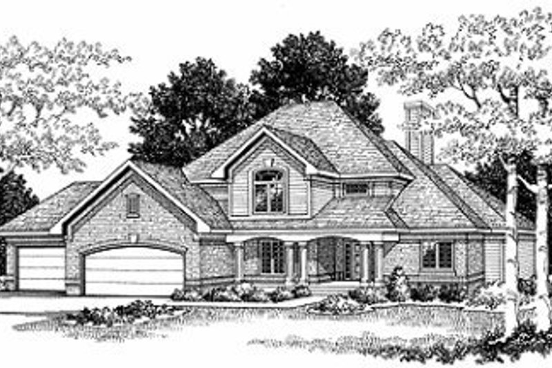 Traditional Exterior - Front Elevation Plan #70-383 - Houseplans.com
