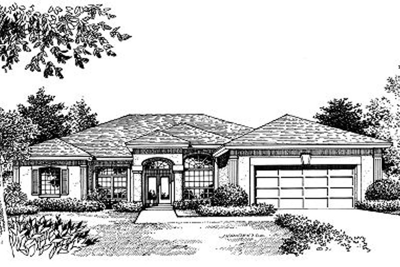 Mediterranean Style House Plan - 4 Beds 3 Baths 2527 Sq/Ft Plan #417-281 Exterior - Front Elevation