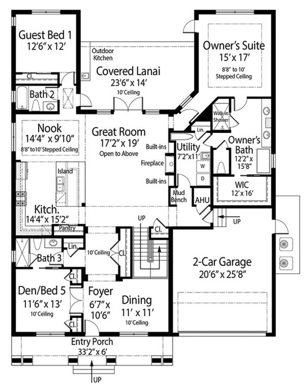 Contemporary Floor Plan - Main Floor Plan Plan #938-92