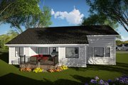 Ranch Style House Plan - 3 Beds 2 Baths 1837 Sq/Ft Plan #70-1477 Exterior - Rear Elevation