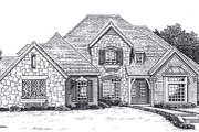 European Style House Plan - 4 Beds 3.5 Baths 3589 Sq/Ft Plan #310-204 Exterior - Front Elevation