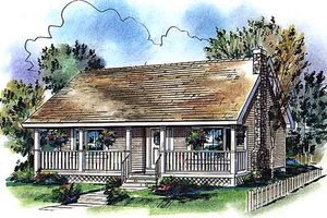 Cabin Exterior - Front Elevation Plan #18-327