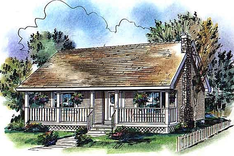 Cabin Style House Plan - 2 Beds 1 Baths 900 Sq/Ft Plan #18-327