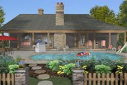 Cottage Style House Plan - 3 Beds 3 Baths 1898 Sq/Ft Plan #56-716 Exterior - Rear Elevation