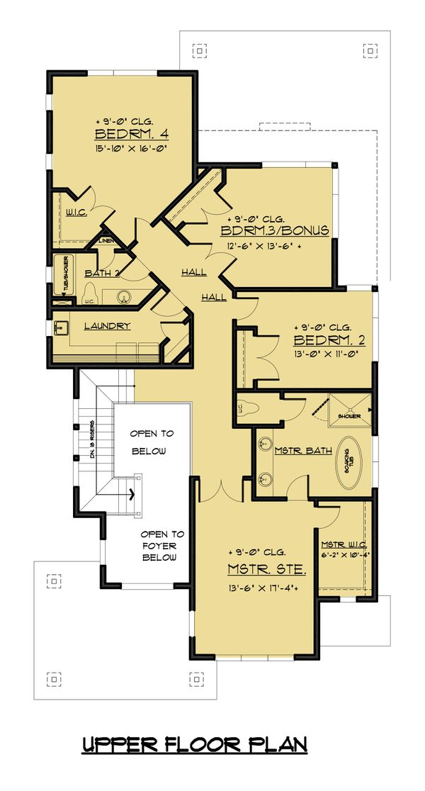 Contemporary Floor Plan - Upper Floor Plan Plan #1066-50