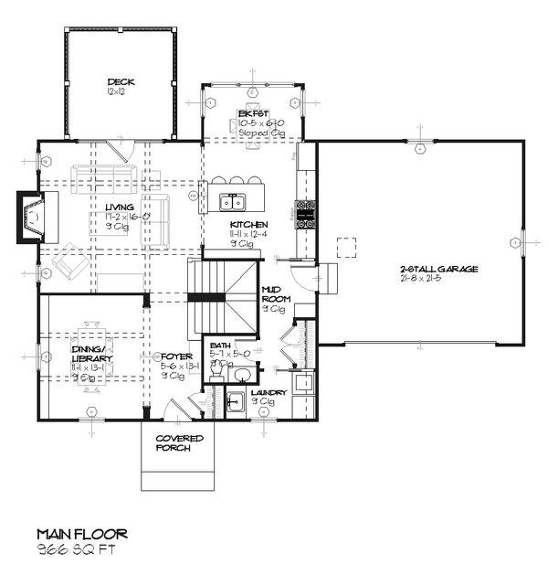 Colonial Floor Plan - Main Floor Plan #901-75