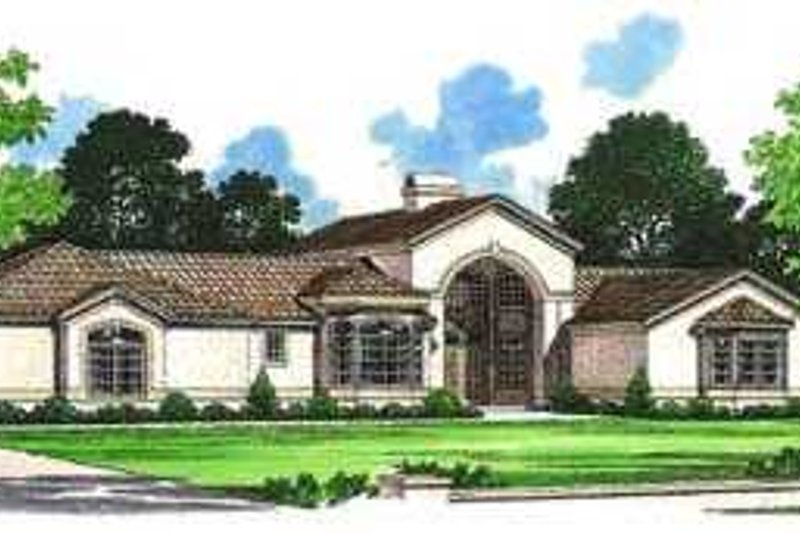 Mediterranean Style House Plan - 4 Beds 2.5 Baths 2319 Sq/Ft Plan #72-143 Exterior - Front Elevation