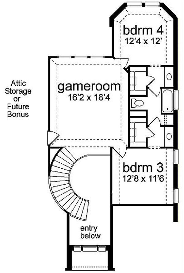 European Floor Plan - Upper Floor Plan Plan #84-261