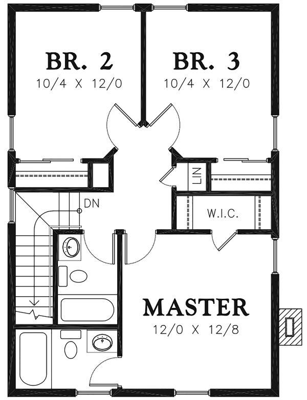 Farmhouse Floor Plan - Upper Floor Plan #48-977