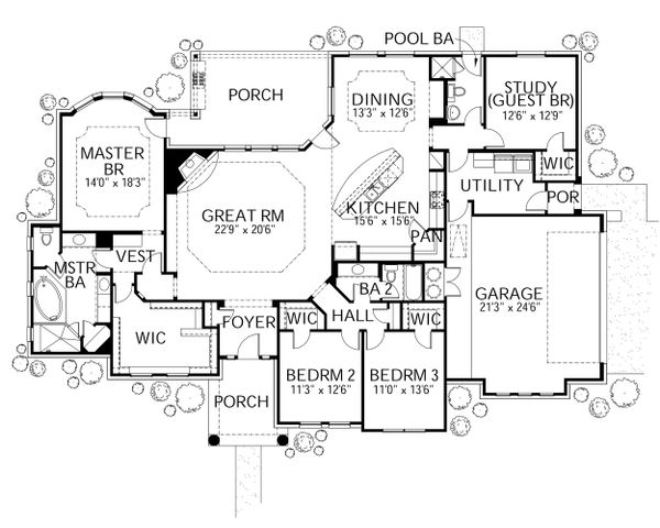 Mediterranean Floor Plan - Main Floor Plan Plan #80-165