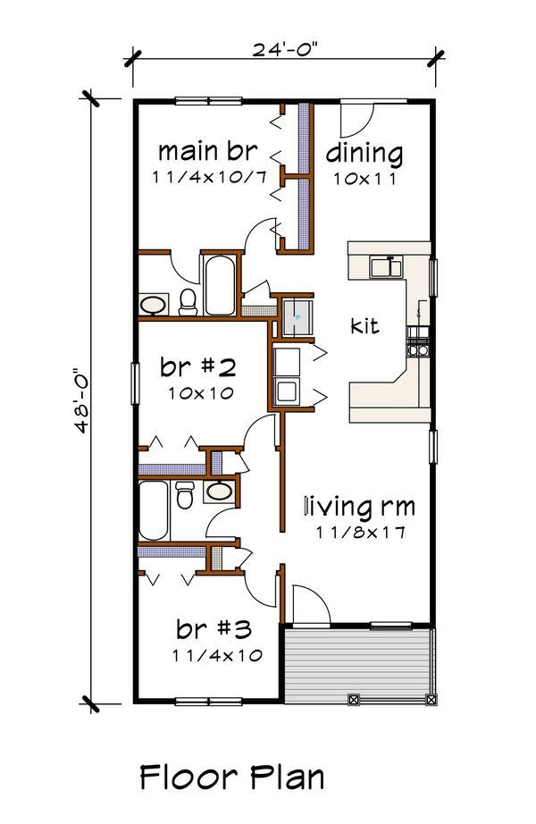 Cottage Floor Plan - Main Floor Plan #79-129