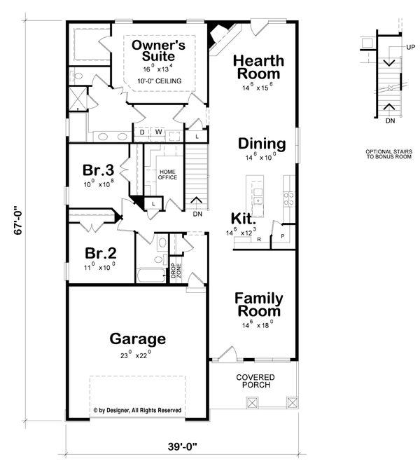 House Plan Design - Craftsman Floor Plan - Main Floor Plan #20-2259