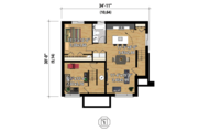Contemporary Style House Plan - 3 Beds 2 Baths 2022 Sq/Ft Plan #25-4400 Floor Plan - Lower Floor