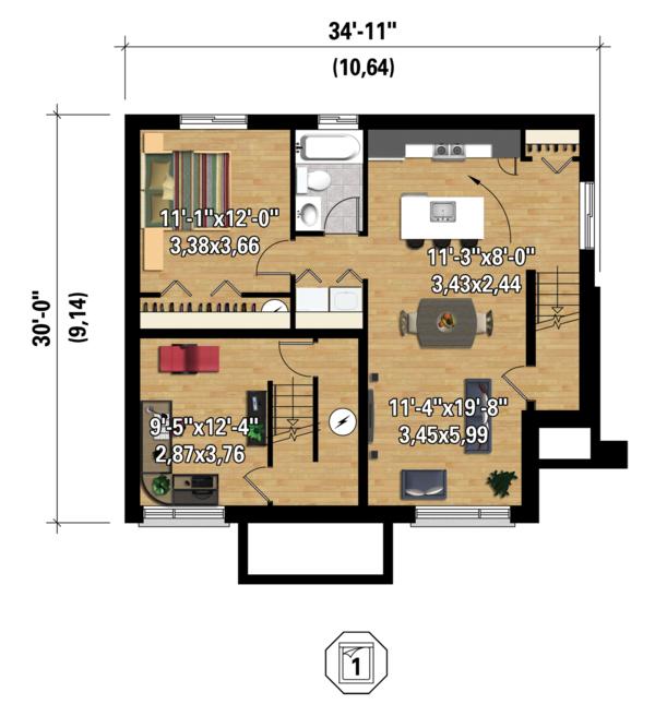 Contemporary Floor Plan - Lower Floor Plan #25-4400