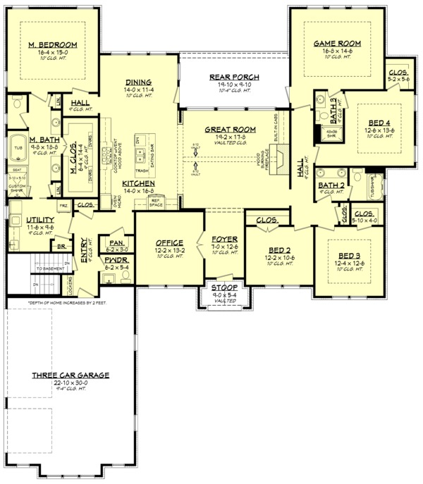 Island At Standard Counter Height Eating Section Dropped: 4 Beds 3.5 Baths 3044 Sq/Ft Plan