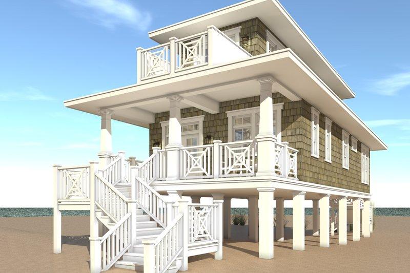 Beach Exterior - Rear Elevation Plan #64-238 - Houseplans.com