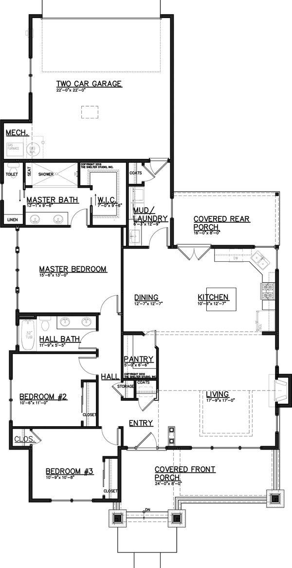 Craftsman Floor Plan - Main Floor Plan Plan #895-58