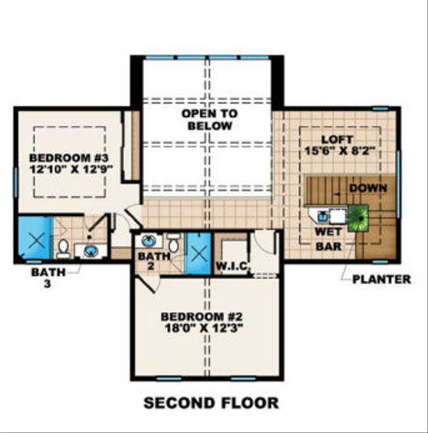 Colonial Floor Plan - Upper Floor Plan Plan #27-407