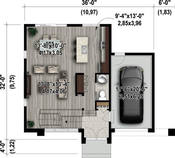 Contemporary Floor Plan - Main Floor Plan Plan #25-4416