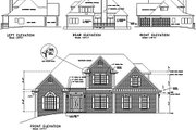 European Style House Plan - 4 Beds 3.5 Baths 1991 Sq/Ft Plan #56-148 Exterior - Rear Elevation