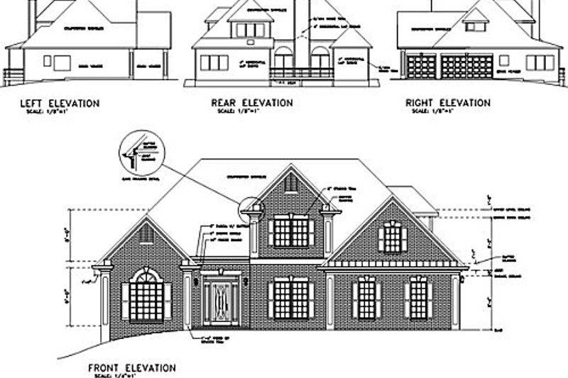 European Exterior - Rear Elevation Plan #56-148 - Houseplans.com