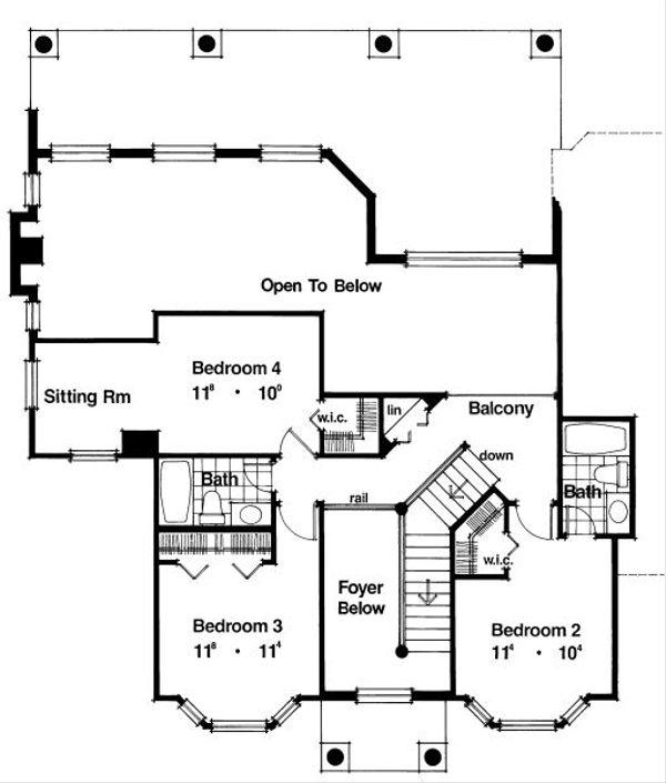 Classical Floor Plan - Upper Floor Plan Plan #417-325