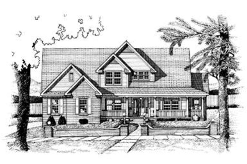 Country Exterior - Front Elevation Plan #20-1090