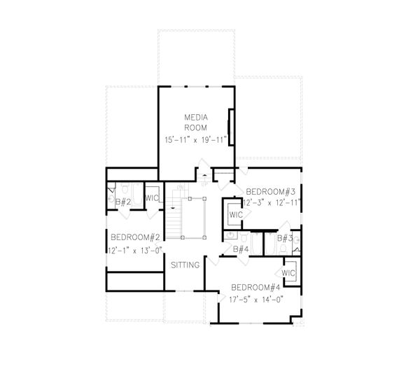 Tudor Floor Plan - Upper Floor Plan Plan #54-399
