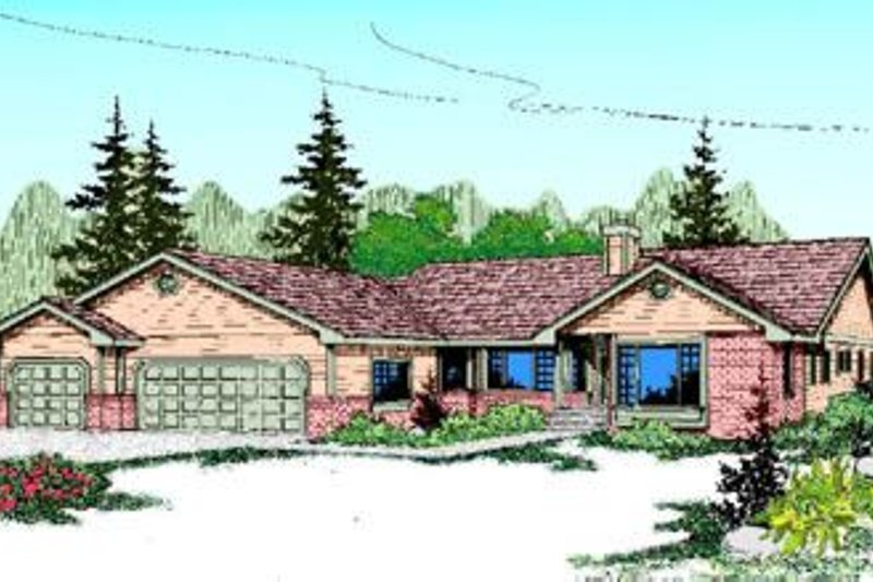 Ranch Style House Plan - 3 Beds 2 Baths 2385 Sq/Ft Plan #60-218 Exterior - Front Elevation