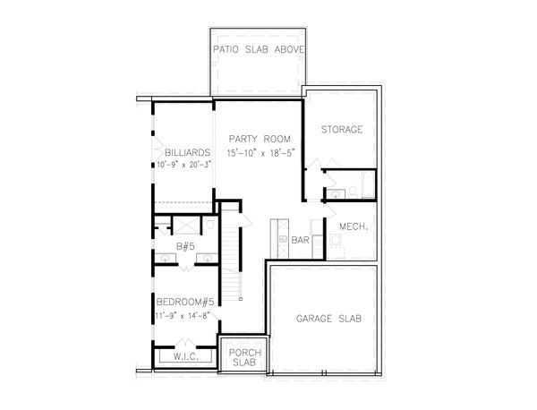 Tudor Floor Plan - Lower Floor Plan Plan #54-399