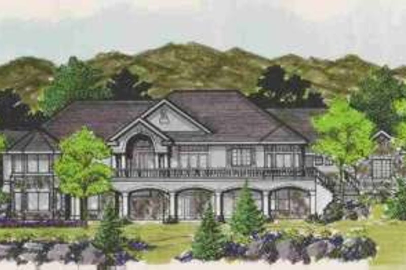 European Style House Plan - 6 Beds 5 Baths 4422 Sq/Ft Plan #308-129 Exterior - Front Elevation