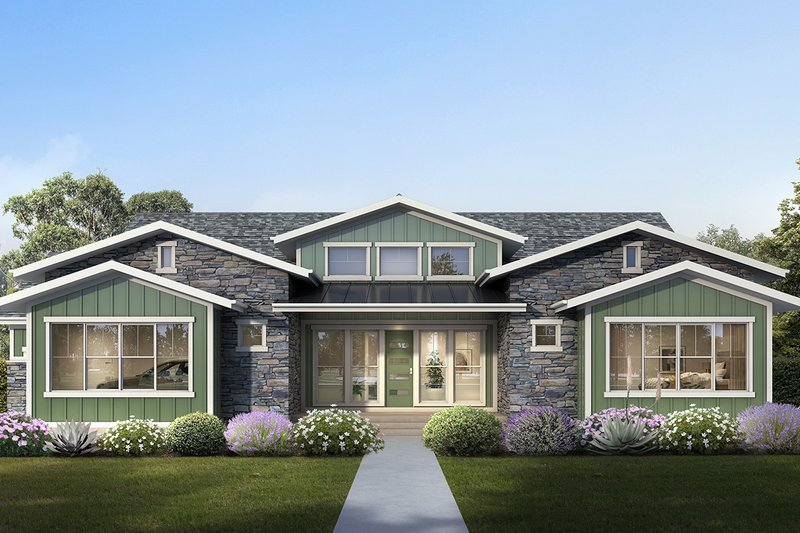 Craftsman Style House Plan - 3 Beds 2.5 Baths 2755 Sq/Ft Plan #1073-14 Exterior - Front Elevation