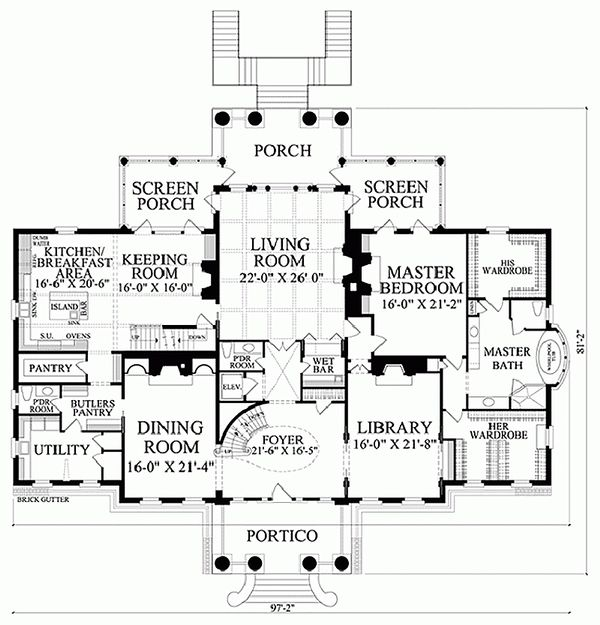 Classical Floor Plan - Main Floor Plan Plan #137-211