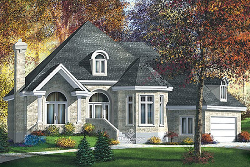 European Style House Plan - 3 Beds 2 Baths 2094 Sq/Ft Plan #25-4114 Exterior - Front Elevation