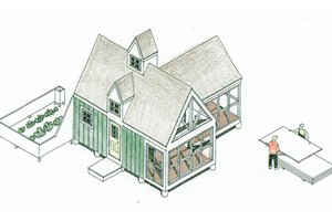 Cottage Exterior - Front Elevation Plan #510-1