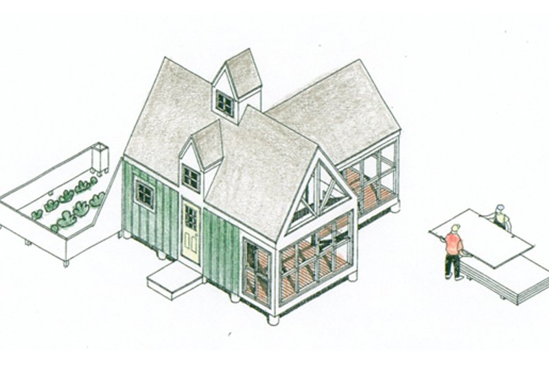 Cottage Style House Plan - 1 Beds 1 Baths 213 Sq/Ft Plan #510-1 Exterior - Front Elevation