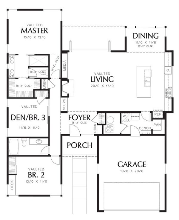 House Design - 1700 square foot modern 3 bedroom 2 bath house plan