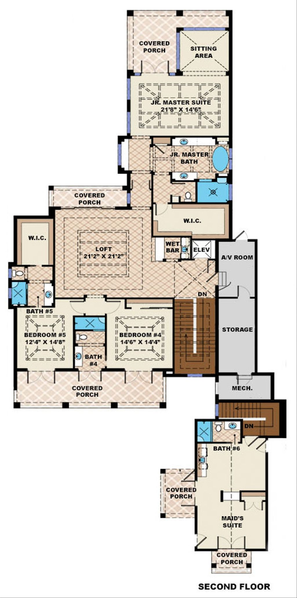 beach style house plan 6 beds 6 5 baths 10605 sq ft plan 27 462 rh houseplans com 6 bedroom house plans australia 6 bedroom house plans nz