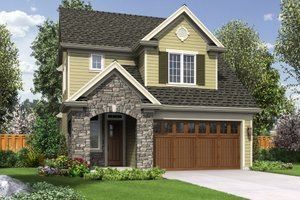 Cottage Exterior - Front Elevation Plan #48-575