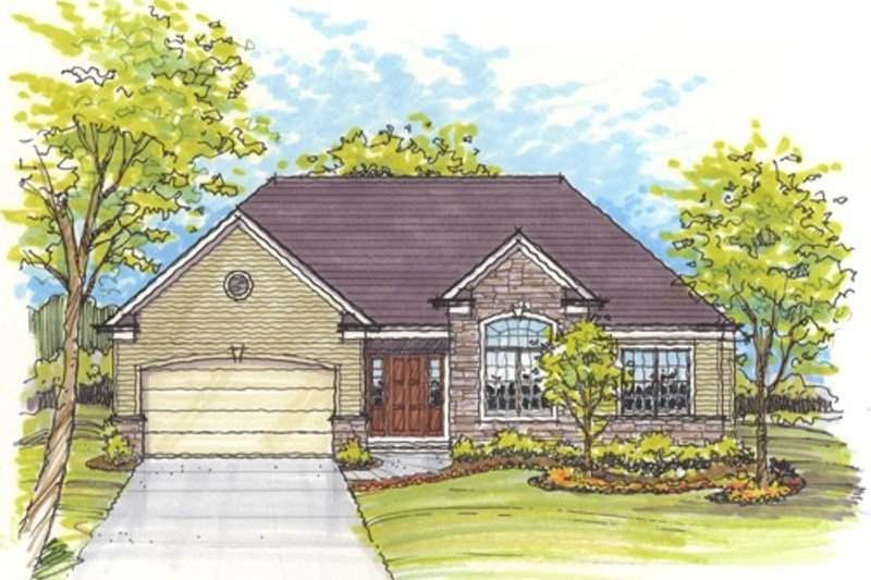 Traditional Style House Plan - 3 Beds 2 Baths 1700 Sq/Ft Plan #435-3 Exterior - Front Elevation