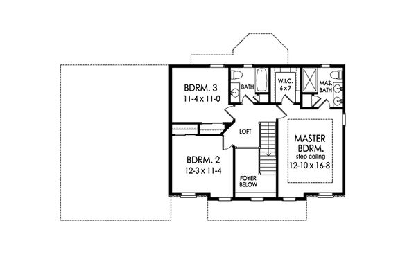 Colonial Floor Plan - Upper Floor Plan Plan #1010-211