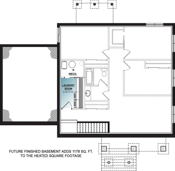 House Plan Design - Craftsman Floor Plan - Lower Floor Plan #23-2728