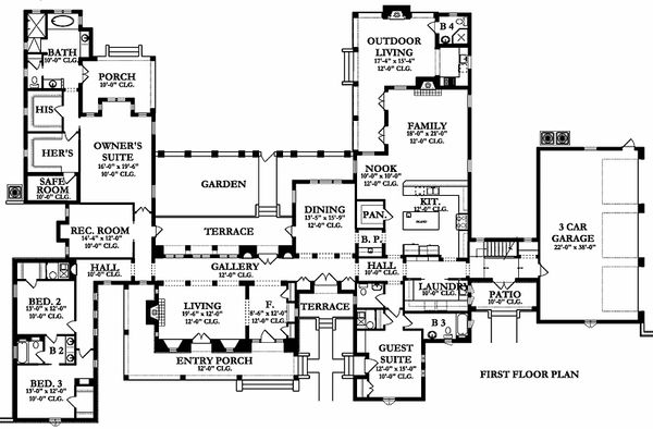 European Floor Plan - Main Floor Plan Plan #1058-24
